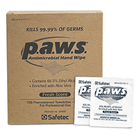 P.A.W.S. 100 ct. Antimicrobial Hand Wipes 66.5% Alcohol